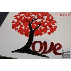 Thiệp xoắn quilling cây Love