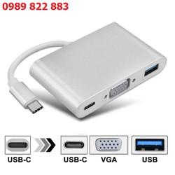 Cáp Chuyển Type-C Sang USB 3.0 VGA Adapter Cao Cấp - Chuyển từ máy tính xách tay / Điện thoại / Máy tính bảng có cổng USB-C lên HDTV / Màn hình hoặc thiết bị khác có Cổng VGA