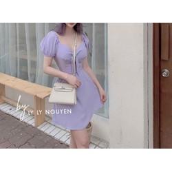 [Tặng son lỳ] Váy tím nơ ngực hot trend 2020