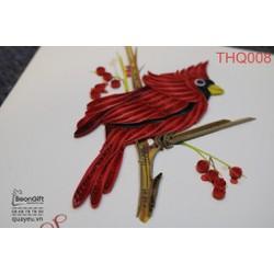 Thiệp xoắn quilling chim két đỏ