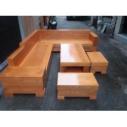 Sofa Gỗ Góc Hộp Gỗ Sồi Nga - Tuấn Long