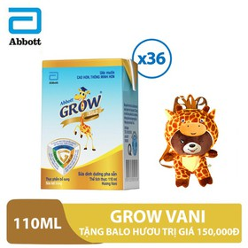 Thùng 36 hộp sữa nước Grow Vani 110ml tặng balo hươu trị giá 150,000đ - GRO030008