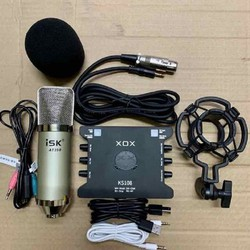 Combo thu âm livestream Mic ISK AT350 - Soundcart xox Ks108 kèm màng lọc kẹp mic dây MA2 tặng kèm tai nghe nhét tai và giá đỡ điện thoại bảo hành 3 tháng