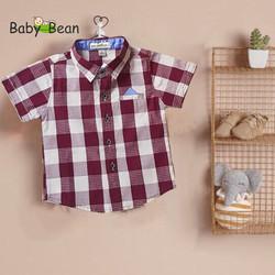 Áo Sơ mi Cotton Ca Rô tay ngắn Bé Trai BabyBean (ĐỎ/ĐỎ NÂU)