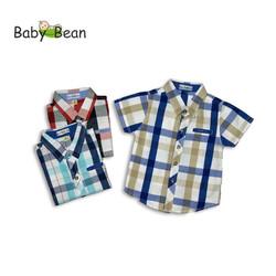Áo Sơ Mi Cotton Ca Rô tay ngắn màu Xanh bé trai BabyBean