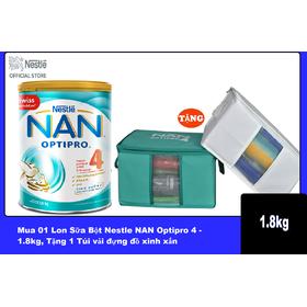 Mua 01 Lon Sữa Bột Nestle NAN Optipro 4 - 1.8kg, Tặng 1 Túi vải đựng đồ xinh xắn (Lưu ý: Màu của quà tặng có thể thay đổi ngầu nhiên) - NAN029489