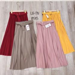 Chân váy xếp ly dài kèm đai nhiều màu