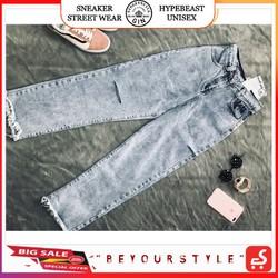 Quần Jeans Ống Suông Xẻ Đùi GG - Gin Store