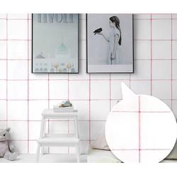 Cuộn 5 mét decal giấy dán tường ô kẻ viền hồng keo sẵn khổ rộng 45cm