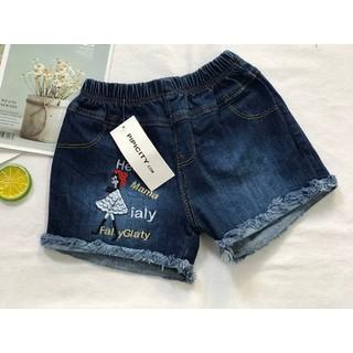 Quần sọt jean bé gái FreeSize từ 15-17kg quần short jean thêu cô bé - QG9 thumbnail