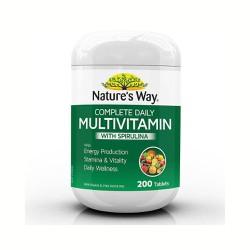 Vitamin Tổng Hợp Kết Hợp Tảo Biển Nature's Way Complete Daily Multivitamin & Spirulina 200 Viên - Úc