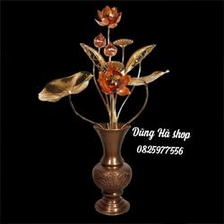 Lọ hoa đồng - lọ hoa thờ cúng bằng đồng cao 30 cm