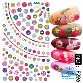 Miếng Dán Móng Tay 3D Nail Sticker Hạt Nút Nhiều Màu Trang Trí F296 - 0010002622
