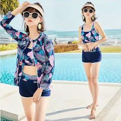 Bộ đồ bơi nữ phong cách Hàn Quốc kèm áo khoác dài tay