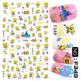 Miếng Dán Móng Tay 3D Nail Sticker Tráng Trí Hoạ Tiết Hoạt Hình Bọt Biển F346 - 0010002625