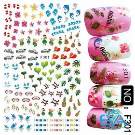 Miếng Dán Móng Tay 3D Nail Sticker Cá Heo Hoa Lá Cây Chủ Để Bãi Biển F301 - 0010002623