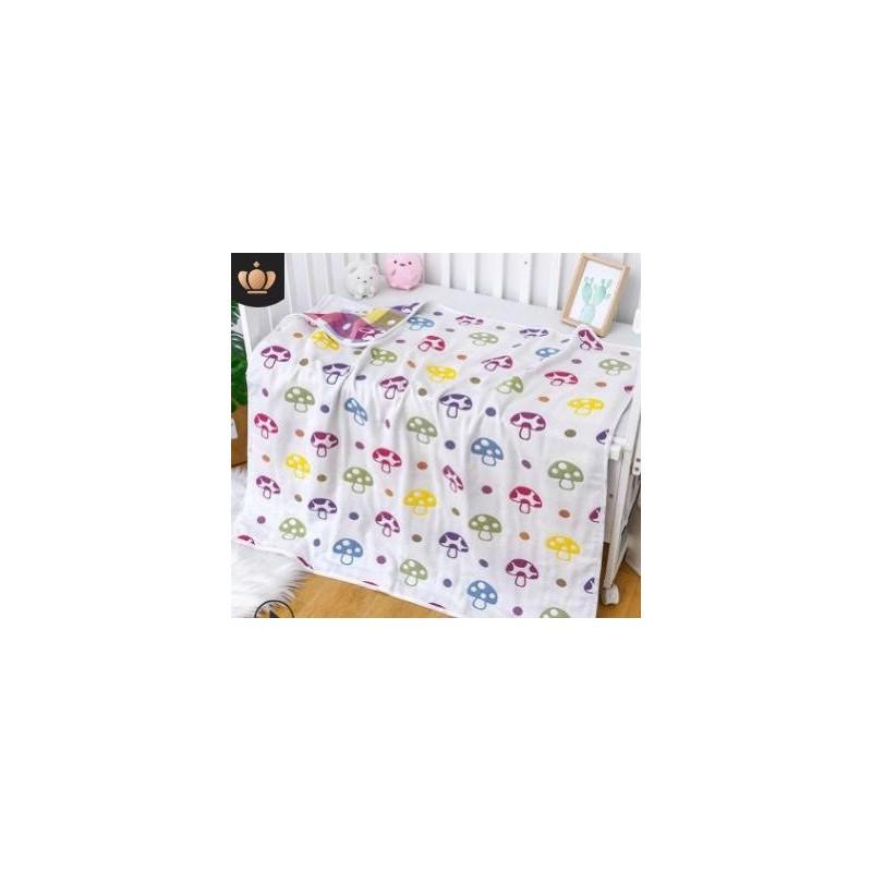 Chăn xô siêu nhẹ thoáng khí đa năng 6 lớp 2 mặt in hình dễ thương cho bé – 100620