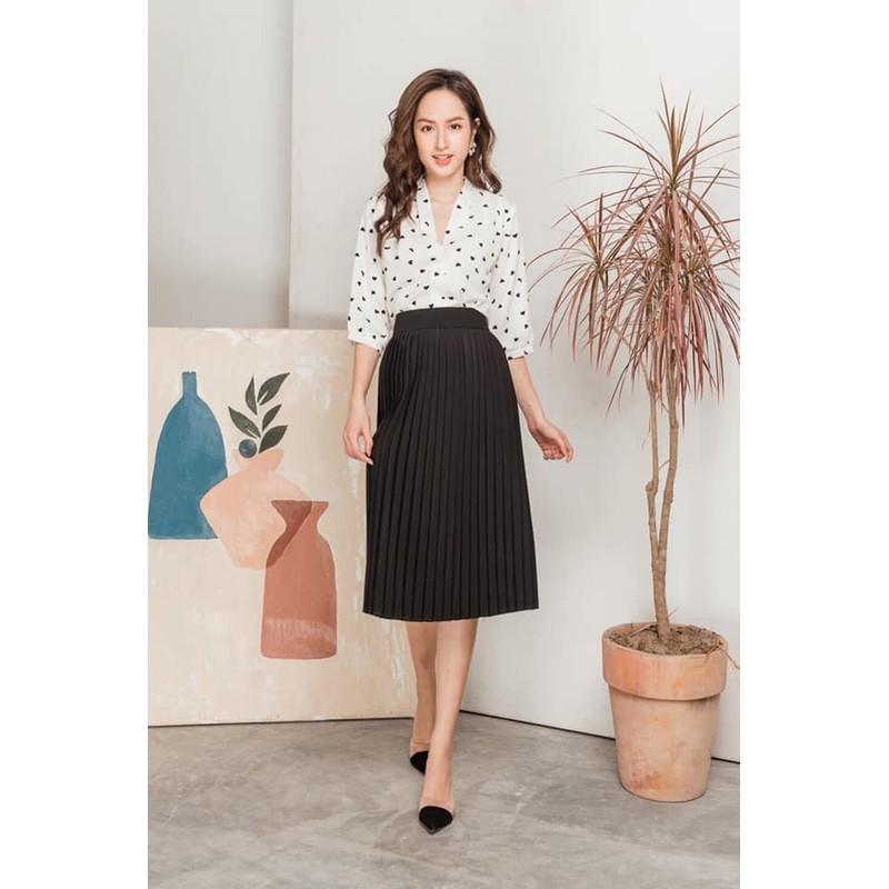 Chân váy xếp ly dáng dài đẹp – 370
