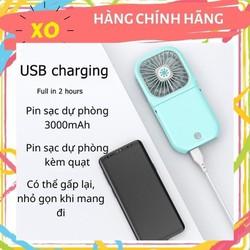 Quạt mini đeo cổ USB kiêm sạc dự phòng - 3000mahQuạt đeo cổ gấp gọn mini pin trâu 3000mah
