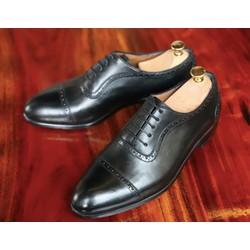 Giày tây nam da bò ý nhập đánh patina cao cấp màu đen