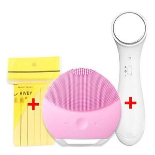 Bộ dụng cụ chăm sóc da mặt đầy đủ 3 món gồm Máy rửa mặt + Mút rửa mặt bọt biển + Máy massage ion đẩy tinh chất - Set chăm sóc da mặt cơ bản - SD2060 thumbnail