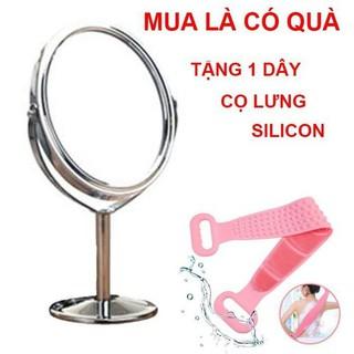 [ HỖ TRỢ 15K PVC ] Gương trang điểm 2 mặt 1 mặt phóng to gấp 3 lần tặng 1 dây cọ lưng silicon 2 mặt - 457568 thumbnail