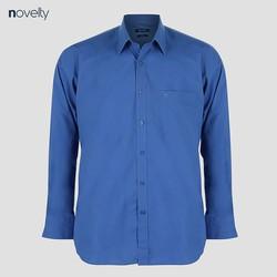 Áo sơ mi nam Novelty dài tay trơn màu xanh đậm 200038D Classic