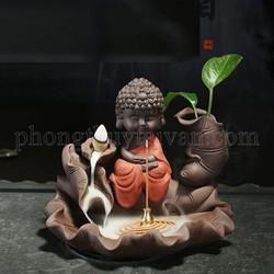 Thác Khói Trầm Hương Phật Tổ Tọa Thiền (tặng hộp 30 nụ trầm thảo mộc + nhíp gắp nụ trầm )