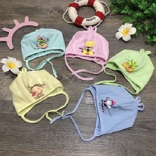 mũ chùm đầu cho bé sơ sinh có quai buộc (tbr) - ms86 thumbnail