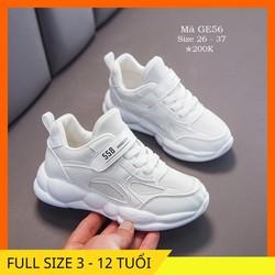 Giày trắng cho bé trai bé gái 3 – 12 tuổi kiểu dáng thể thao khỏe khoắn và năng động GE56