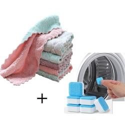 Combo 30 Khăn lau đa năng 2 mặt + Tặng 12 viên tẩy lồng máy giặt