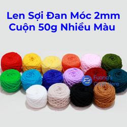 Len Sợi Đan Móc Nhiều Màu 2mm Cuộn 50 gram