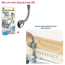 Đầu vòi tăng áp Điều hướng 360 độ + Giỏ Iinox đựng miếng rửa bát gắn vòi