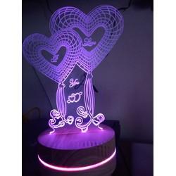 đèn led 3d trái tim đẹp