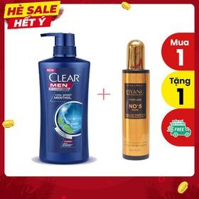 Dầu Gội Clear Men Nhập Khẩu Thailand - 450ml + Tặng kèm chai Xịt dưỡng tóc No5 220ml - CLEAR+NO