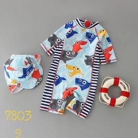 Bộ bơi liền thân kèm mũ cá mập cho bé trai 3-7 tuổi.Bộ bơi liền thân bé trai.Set bơi bé trai.Bộ bơi dài tay bé trai - 498