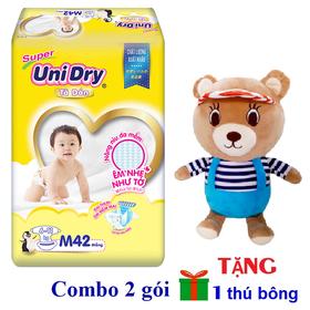 [Tặng 1 gấu bông mặc áo] Combo 2 gói tã dán Unidry size M42 - size L38 - size XL34 - UNIB-01