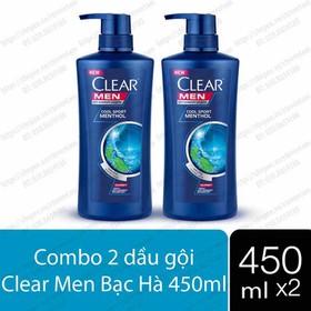 Combo 2 chai dầu gội Clear Men Bạc Hà (450ml x 2) Thái Lan - Combo 2 chai dầu gội Clear Men