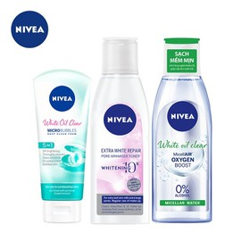Combo dưỡng da dành cho da nhờn Nivea: Sữa rửa mặt trắng da 100g, Nước tẩy trang kiểm soát nhờn 200ml & Nước hoa hồng Extra WhitePore Minimiser Toner 200ml - TUNI0172CB