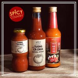 Tương Ớt - Tương Cà Chua Sạch Spicy Country - Phúc Lộc Thọ - Không Chất Bảo Quản 100% Cổ Truyền Nguyên Chất
