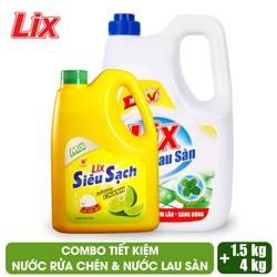 COMBO Nước lau sàn Lix hương bạc hà 4 lít + Nước rửa chén Lix siêu sạch hương chanh 1.5Kg