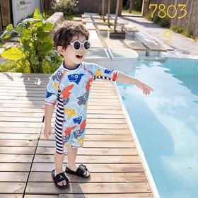 Set bơi liền thân kèm mũ cá mập cho bé trai 3-7 tuổi.Bộ bơi liền thân bé trai.Set bơi bé trai.Bộ bơi dài tay bé trai - 460