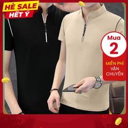[MUA 2 FREESHIP] Áo thun nam tay ngắn TN52 cổ trụ dây kéo vải sợi tre tổng hơp