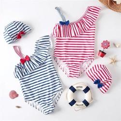 Bộ bơi liền thân vai lệch kèm mũ cho bé gái 3-7 tuổi.Bộ đồ bơi bé gái.Bộ bơi liền bé gái.Set bơi dài tay bé gái