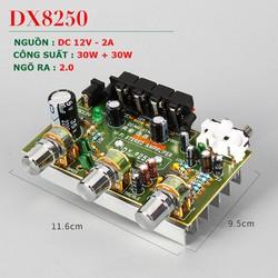 Mạch khuyếch đại công suất BTL 2.0 DX-8250, Nguồn 12V, Công suất 30W + 30W Dùng độ loa kéo, karaoke .v.v...