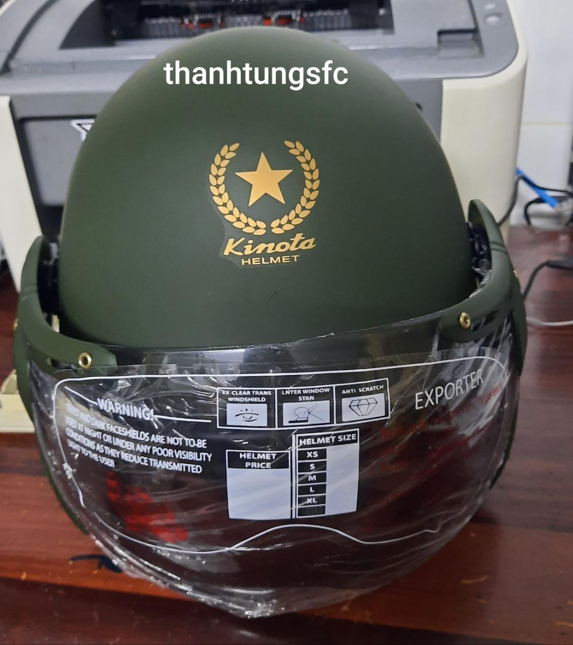 nón bảo hiểm lính kinota kính chắn gió cao cấp an toàn cho người sử dụng