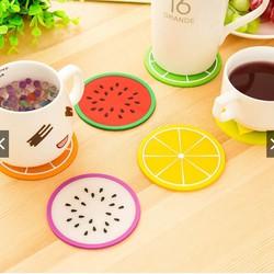 Lót cốc silicon hình hoa quả