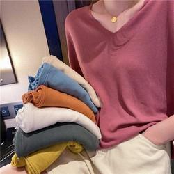 Áo len dệt kim cổ V nhiều màu dưới 55kg AN08