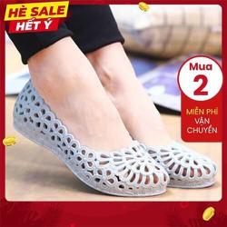 Giày lười nữ nhựa dẻo mềm đi mưa lỗ thoáng hơi thiết kế hoa văn thời trang