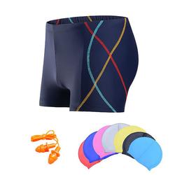 Quần bơi nam Boxer YESURE SOC Chất liệu polyester Spandex cao cấp , chống thấm , nhanh khô form Fitness thời trang (Tặng kèm nón bơi + bịt tai silicon)